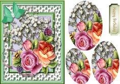 Lovely  Roses on Daisy lace  ,Pyramid by Ceredwyn Macrae A lovely  Pyramid card to make and give to anyone with lovely roses on daisy lace has one greeting tag ,