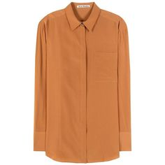 Acne Studios Addle Silk Shirt (413 AUD) ❤ liked on Polyvore featuring tops, shirts, blouses, orange, silk shirt, orange top, orange silk shirt, acne studios and shirt top