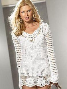 Fabulous maniche bianche di cotone 100% Long Blouse Womens Crochet