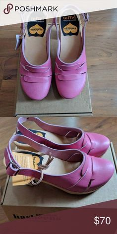 Neon pink slingback sandal platforms Brand new Swedish Hasbeens Shoes Mules & Clogs