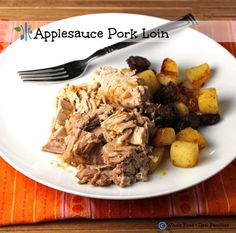 Applesauce Pork Loin in the Slow Cooker via Whole Food | Real Families. Delicious and easy! A clean eating, whole food recipe. #glutenfree #pork #cleaneating