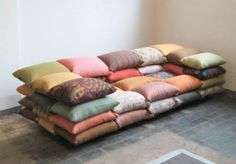 lo-fi sofa by Christiane Högner, a sofa made of pillows. You can never have too many pillows.