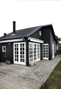 Black house with white trim