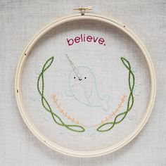 new pattern // believe (a narwhal embroidery design)