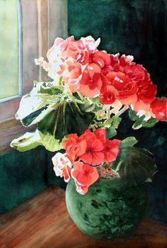 Geraniums in Sunlight by Joan Blackburn Abstract Flowers, Watercolor Flowers, Watercolor Paintings, Watercolours, Red Geraniums, Arte Floral, Watercolor Techniques, Ikebana, Botanical Art