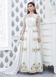 If you're seeking the perfect Anarkali suits design then you have landed at the right place. We have brought for you a compiled list of these gorgeous flowy outfits. . . . #anarkali #anarkalisuits #bridalsuits #bridaldress #dress #wedding #weddingdress #bridalwear #suits #brides #anarkalisuitdesigns #gorgeous #outfits #shaadidukaan Indian Dresses For Women, Indian Outfits, Suits For Women, Indian Clothes, Desi Clothes, Long Anarkali Gown, Anarkali Suits, White Anarkali, Churidar Suits