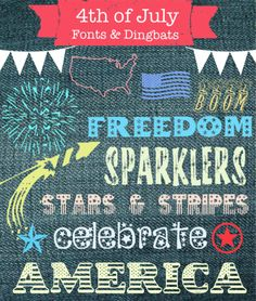 Free Dingbats & Fonts for 4th of July - Made in a Day