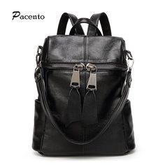 51.03$  Watch now  - High Quality Genuine Leather Women Backpack Fashion Backpacks For Teenage Girls Black Casual Travel School Bag Sac a dos