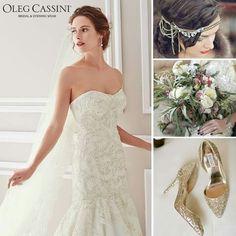 31164eba72d95 Işıltılı Oleg Cassini deniz kızı gelinliğiniz ile altın renkli göz alıcı  bir düğün konsepti tercih edebilirsiniz