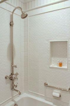 Talk of The House - bathrooms - drop in bathtub, drop in tub, shower surround, mini subway tiles, beveled subway tiles, mini beveled subway ... Guest Bathrooms, Upstairs Bathrooms, Bathroom Renos, Small Bathroom, Bathroom Caddy, Condo Bathroom, Concrete Bathroom, White Bathrooms, Luxury Bathrooms