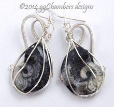 Sterling Silver Woven Wire Goniatite Fossil Earrings | ggchambers.com