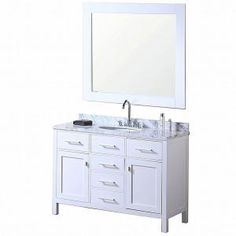 Hall Bath - London 48 in. Vanity in Pearl White with Marble Vanity Top in Carrera White and Mirror-DEC076C-2 at The Home Depot