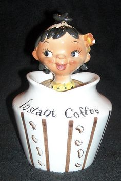 Lefton Pixieware Instant Coffee Girl Condiment  jar ...OK i WANT this one! :)