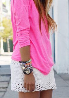 white skirt pink shirt