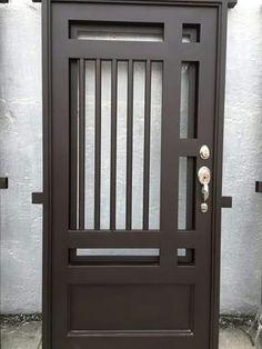 Ideas for Entrance Door Sheet Metal # Door Steel Gate Design, Front Gate Design, Door Gate Design, Main Door Design, Steel Doors And Windows, Iron Front Door, Window Grill Design, Wrought Iron Doors, Metal Doors