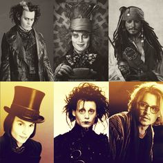 The many faces of Johnny Depp.just love him and his movies Beautiful Men, Beautiful People, Beautiful Things, Here's Johnny, Johnny Depp Movies, Johny Depp, Hollywood, Many Faces, Famous Faces