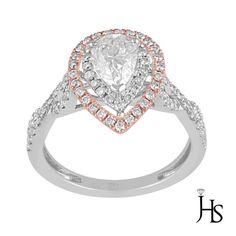 14K Rose & White Gold 1.43CT H-I/VS2 Double Halo Diamond Engagement/Fashion Ring #WomensEngagementFashionRingJewelryHotspot