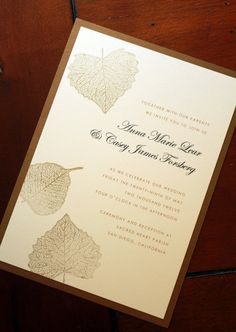 Falling Leaves Hand Stamped Wedding Invitation by GoldenSilhouette, $4.20