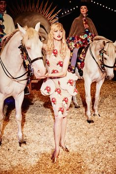 The latest issue of Harper's Bazaar US heads to the circus for this editorial starring Frances Coombe. Photographed by Ellen Von Unwerth of Management, Ellen Von Unwerth, Circus Fashion, Horse Fashion, Pantomime, Clarks, Henrik Purienne, Circus Maximus, Gone Rogue, Jacquemus