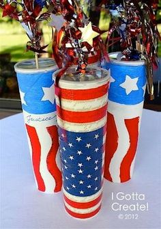 DIy- Pringles Can Firecracker centerpiece for 4th of July! by Sistersmine
