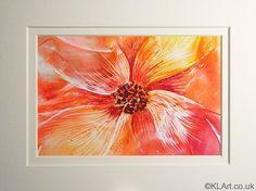 Encaustic Flower | Beeswax on card | Picture size: 4 X 6 in | 10.5 X 15 cm | With Mount: 6 X 8 in | 15 X 20.5 cm | £30