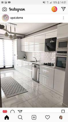 Modern Home Decor Kitchen Kitchen Room Design, Kitchen Cabinet Design, Modern Kitchen Design, Home Decor Kitchen, Interior Design Kitchen, Home Kitchens, Kitchen Ideas, Kitchen Layout Plans, Modern Design
