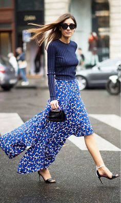 Navy knit, blue printed skirt, and black mini bag. // #StreetStyle