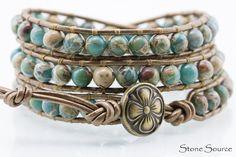 Southwestern Aqua Terra Leather Wrap Bracelet  Chan by StoneSource, $42.00