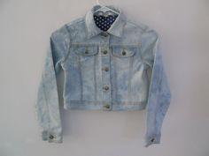 DKNY Girls Denim Jean Stretch Truckers Jacket Light Wash Tie Dye Size Medium #DKNY #JeanJacket #Everyday