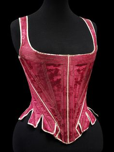 Silk Damask Stays, 1770-90 from The VandA. I love the shape of 18th century stays, give you an amazing cleavage!