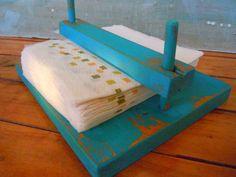 wood napkin | Distressed Wood Napkin Holder by VintageChichibean on Etsy
