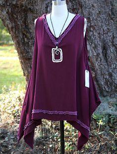 Oh My Gauze Cotton Lagenlook Sandy Long Vest Tunic OSFM L XL 1x 2X Burgundy | eBay