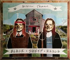 BLACK SHEEP RANCH WILLIES — 50 x 53in — Mixed Media on Board -- CONTACT: annegenung@gmail.com