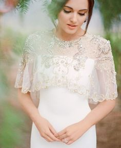 Love this dreamy embellished capelet.