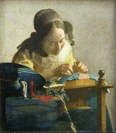 Johannes Vermeer, La Dentellière , vers 1669-1670. Huile sur toile marouflée sur panneau. 24,5 x 21 cm. Paris, musée du Louvre, département des Peintures © RMN-Grand Palais (musée du Louvre) / Gérard Blot.