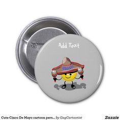 Cute Cinco De Mayo cartoon personalized Button