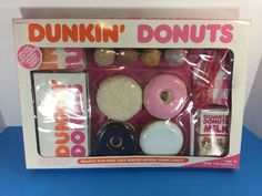 Dunkin Donuts Realistic Play Food Toy Vintage Apparently very rare. I remember having these donuts but I don't know if the box was branded Fisher Price, Play Food Set, Baby Doll Accessories, Mini Craft, Barbie Toys, Mini Things, Dunkin Donuts, Toys For Girls, Toddler Toys