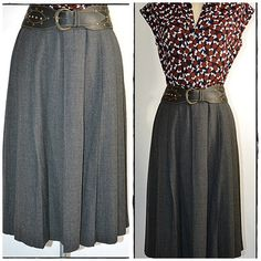 Vintage Charcoal Gray Wool Pleated Skirt by ChrisMartinDesigns