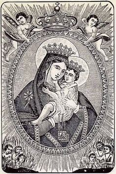 An Italian print of Our Lady of Mount Carmel. According to Catholic belief she is a special patroness of the souls in purgatory.