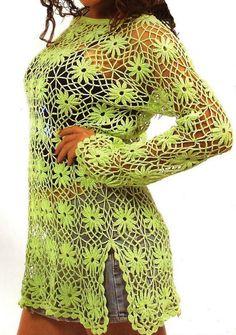 Vea como tejer esta linda blusa calada a crochet con flor, en hilo de color verde. Las invito a tejer esta divertida blusa hecha en crochet flores. Los colores del verano están plasmados en esta blusa, muy fresca y fácil … Ler mais... →