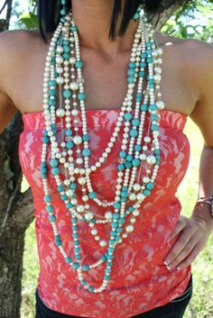Long Multiple Strands of Pearls and Turquoise Necklace