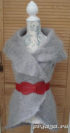 Шаль – кардиган спицами из мохера, схема