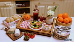 Wooden Tray with Delicious and Fresh Food. 1:12 scale Dollhouse Miniature on Etsy