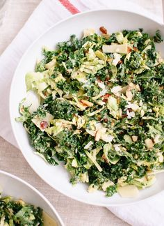 Chopped brussels sprout and kale salad with creamy tahini-maple dressing - cookieandkate.com