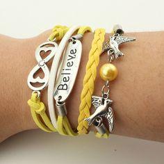 leather Double infinite multilayer Alloy bracelet