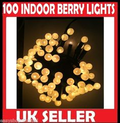 100 warm white berry lights christmas tree decoration with 4 spare bulbs xmas