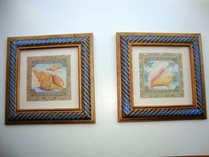Pair of SHELL Pictures  Remodeled Gold frame with by KOZYGLASS