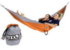 DoubleNest by Eagles Nest Outfitters : ENO's Double hammock which packs down to the size of a grapefruit, weighs 22 oz and supports up to 400lbs. Optional mosquito net and rain fly. Available in a variety of colors.