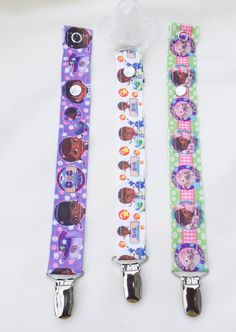 The Doc is in!! Disney's Doc McStuffins Pacifier Clips  Set of 3 by JordansGallery