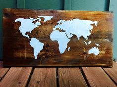 $39 - World Map  Check out this item in my Etsy shop https://www.etsy.com/listing/235421760/map-wood-sign